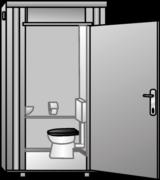 Sanitärcontainer, Schwarz-Weiss-Container, WC, Toiletten mieten